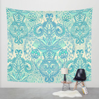 Botanical Geometry - nature pattern in blue, mint green & cream Wall Tapestry by Micklyn