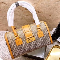 Hipgirls Dior New fashion more letter leather pillow shape shoulder bag handbag Brown