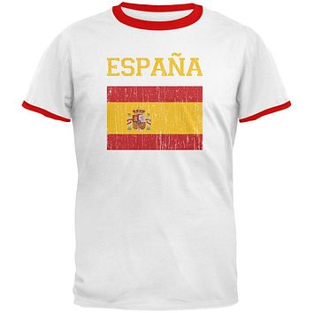 World Cup Distressed Flag Espana White/Red Men's Ringer T-Shirt