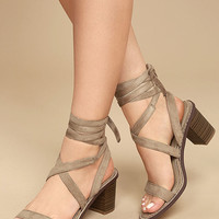 Kendra Taupe Suede Lace-Up Heels