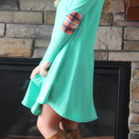 Mad for Plaid Dress with Plaid Elbow Patches - Mint
