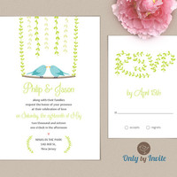 Gay Wedding Invitation and RSVP card set | Same Gender Wedding Invitations | Two Birds | Groom and Groom