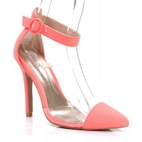 New Qupid Potion-108 Nubuck d'Orsay Pointy Toe Ankle Strap Pumps NEON CORAL