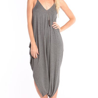 OVERSIZE DRAPED ROMPER - GREY