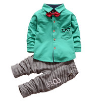 0-5 Years Baby Boys Girls 2 Pieces Clothes Sets Kids Children Glasses Bow Tie T-shirts + Pants Clothing Cotton Suit