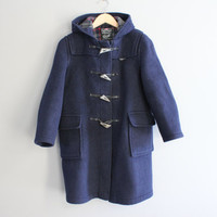 Reserved for Violet Original Gloverall English Duffle Coat Made in England Navy Blue Check Plaid Wool Hooded Coat 90s Unisex Size XS - S