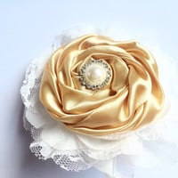 Ivory and Gold Flower Barrette - Bridal Hair Piece - Bridal Barrette in Gold and Ivory - Lace and Satin Flower Hair Clip -Vintage Style Clip