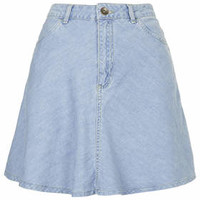 MOTO High-waist Denim Skirt - Bleach Stone