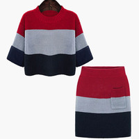 Multi Color Striped Knitted Top and Skirt Suit