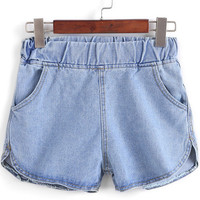 Blue Elastic Waist Denim Shorts