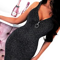 New fashion solid color shining vest dress women