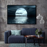 Moon Phases Canvas Painting Landscape Nordic Black White Poster Print Wall Art Picture For Living Room Home Office Decor