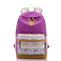 Lightweight Canvas Laptop Backpack Cute College School Bag