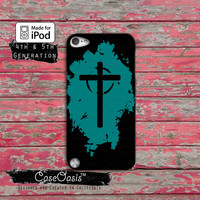 Christian Cross Blue And Black Jesus Religion Case iPod Touch 4th Generation or iPod Touch 5th Generation Rubber or Plastic Case