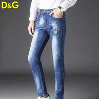 Dolce & Gabbana New fashion embroidery crown bee jeans pants men Blue