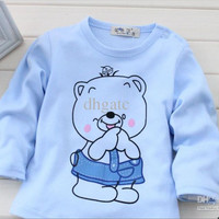 Sample order Children T-shirt autumn children's clothing shoulder strap Bear T-shirts