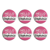 Stephanie Hello My Name Is Plastic Resin Button Set of 6