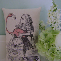 Alice in Wonderland - Alice and pink flamingo  -  handmade to order - small cushion