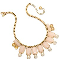 kate spade new york Gold-Tone Pink Stone Frontal Necklace