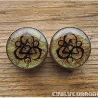 Coheed and Cambria Keywork Plugs - 00g, 7/16, 1/2, 9/16, 5/8, 3/4, 7/8, 1 Inch - CUSTOMIZABLE