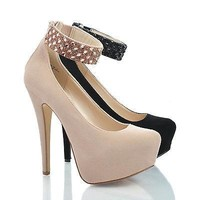 Realove56 By Anne Michelle, Pointy Toe Rhinestone Stud Ankle Cuff Platform Stiletto Pumps