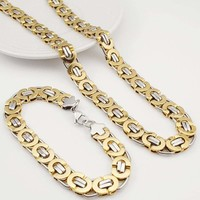 E2 Stainless Steel Byzantine Bracelet & Necklace Set