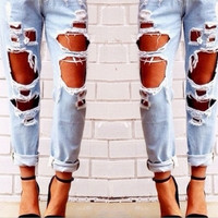 New Fashion Women Denium Cute Slim Casual Hole jeans pants