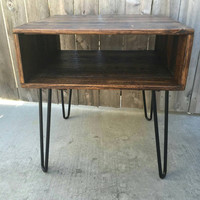 Honey squared side table, end table , night stand, reclaimed wood, craft furniture, pallet wood, coffee table,  hand made