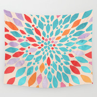 Radiant Dahlia - teal, orange, coral, pink watercolor pattern Wall Tapestry by Tangerine-Tane