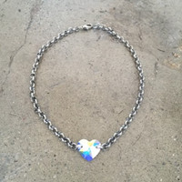 Opal and Iridescent Multi-color Swarovski Gem Heart Choker Necklace- Adjustable- Metal Chain- New- Stylish