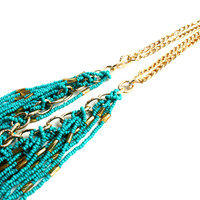 """""""Turquoise Dream"""" Gold Necklace With Turquoise Bead Accents"""