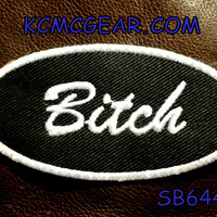 BITCH Oval White on Black Small Badge Patch for Vest jacket SB644