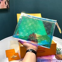 LV 2020 New Candy-colored Transparent Men's and Women's Toiletry Bag Clutch Bag