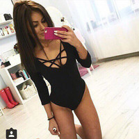 Women Jumpsuits 2017 Hottest Trendy Cross Strings Front Lace up Design Bandage Bodysuit freeshipping