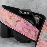 "dSLR Camera Strap, Patina, Pink, Peach, Batik, Tie Dye, 30"" or 36"" Long, Camera Accessories, Photographer Gift,  SLR, 140, w"