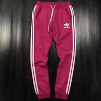 """Adidas""  Fashion New Women Men Loose Sport Pants  Stripe Casual Sweatpants C-AA-XDD Rose red"