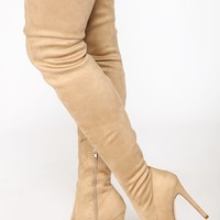 Vicky Over The Knee Boot - Taupe