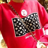 LV Louis Vuitton Fashion Women Men Casual Jacquard Knit Long Sleeve Sweater Top Sweatshirt Red
