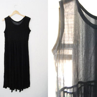 Vintage 90s Black Semi Sheer Minimalist Midi Dress / Oversized
