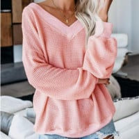 Explosive models loose V-neck sweater women