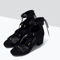 LACE-UP BLOCK-HEELED SANDALS