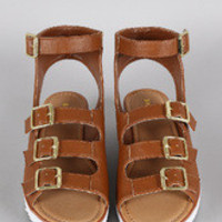 Women's Bamboo Multi-Buckle Strap Wedge Sandal