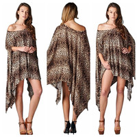 Womens Sexy Oversized Asymmetric Tunic Poncho Cape Top Blouse Shirt Mini Dress = 5737793473