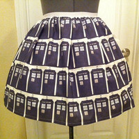 One of a kind tardis inspired skirt - Made to order