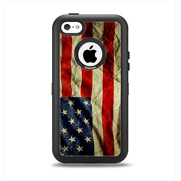 The Dark Wrinkled American Flag Apple iPhone 5c Otterbox Defender Case Skin Set