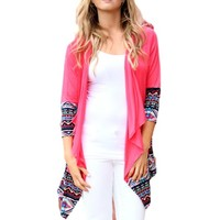 Solid knit Cardigan with printed Aztec Edge, Coral