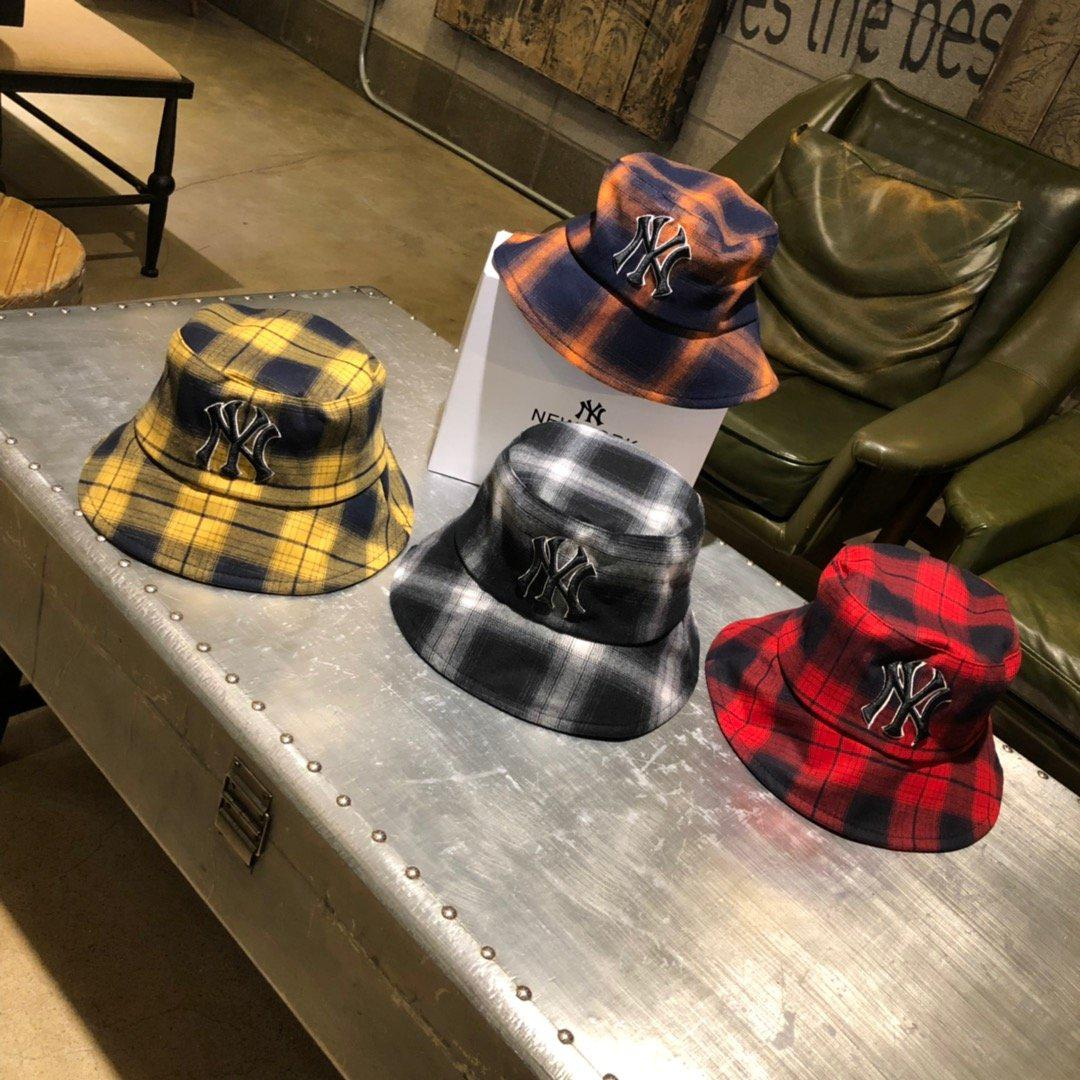 """Image of """"New York Yankees"""" Unisex Casual Tartan Letter Embroidery Bucket Hat Fisherman Cap Couple Fashion Sun Hat"""