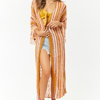 Multicolor Open-Knit Longline Cardigan