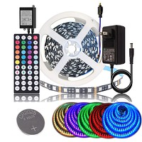 BIHRTC DC 12V LED Strip Lights SMD 5050 RGB 16.4Ft(5M) Not Waterproof IP20 Black PCB Board Lighting 60leds/m 44 Keys IR Remote Controller 3A UL Power Adapter for Xmas Party Bedroom Indoor Decoration 16.4 Ft