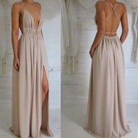 Plunging Backless V Neck Prom Dress